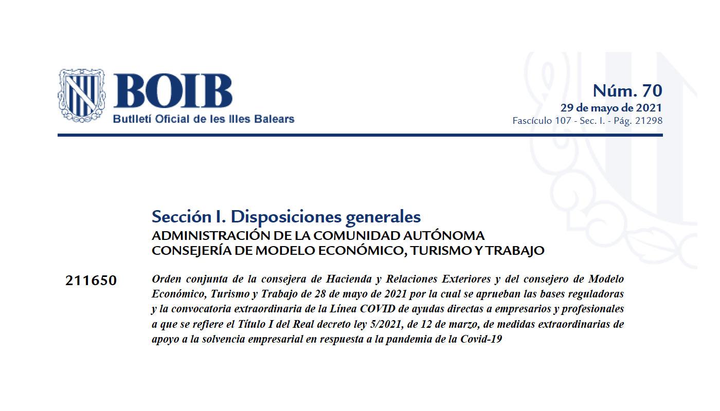 Bases reguladoras y convocatoria extraordinaria de la línea Covid de ayudas directas a empresarios y profesionales